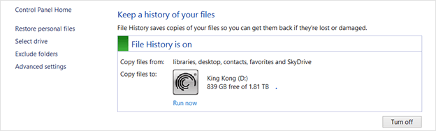Windows 8 File History control panel